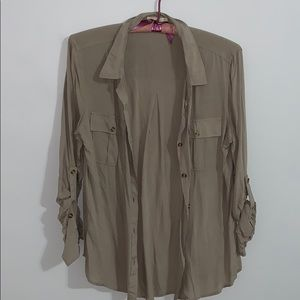 Medium Light Army Green/ Tan Shirt